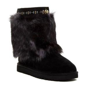 UGG Black Vilet Crystal Toscana Lamb Fur Boots